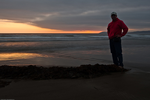Sunset (with kelp pile and me myself